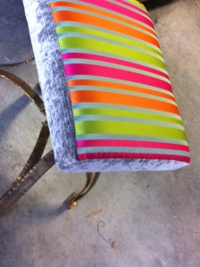 Stripey bedroom stool